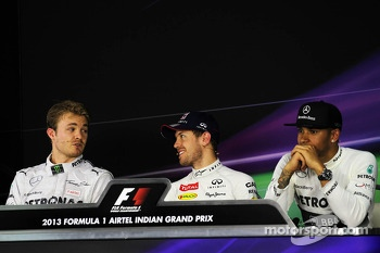 The FIA Press Conference: Nico Rosberg, Mercedes AMG F1; Sebastian Vettel, Red Bull Racing; Lewis Hamilton, Mercedes AMG F2