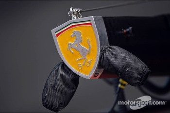 Ferrari badge on pit stop equipment