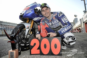 Race winner Jorge Lorenzo celebrates 200 wins for Yamaha