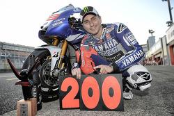 Race winner Jorge Lorenzo celebrates 200 wins for Yamaha