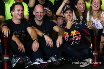 Sebastian Vettel, Red Bull Racing celebrates his 4th championship win with the team