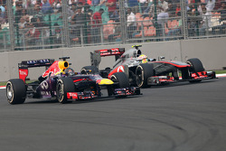 Sebastian Vettel, Red Bull Racing and Sergio Perez, McLaren Mercedes