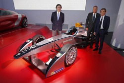 Alain Prost and Jean-Paul Driot with Alejandro Agag, co-founder of Formula E Championship