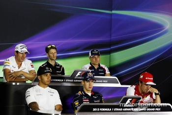 The FIA Press Conference: Adrian Sutil, Sahara Force India F1; Romain Grosjean, Lotus F1 Team; Valtteri Bottas, Williams; Lewis Hamilton, Mercedes AMG F1; Sebastian Vettel, Red Bull Racing; Fernando Alonso, Ferrari