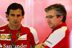 (L to R): Pedro De La Rosa, Ferrari Development Driver with Pat Fry, Ferrari Deputy Technical Director and Head of Race Engineering