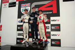 Podium from left: Sennan Fielding, Matthew Graham and Pietro Fittipaldi
