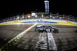 Jimmie Johnson, Hendrick Motorsports Chevrolet crosses the finish line to clinch his 6th NASCAR Sprint Cup Series championship