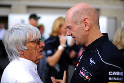 (L to R): Bernie Ecclestone, CEO Formula One Group, with Adrian Newey, Red Bull Racing Chief Technical Officer