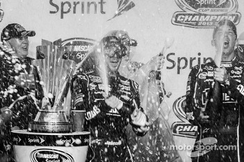 Championship victory lane: NASCAR Sprint Cup Series 2013 champion 2013 Jimmie Johnson, Hendrick Motorsports Chevrolet celebrates with champagne