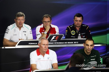 The FIA Press Conference: Ross Brawn, Mercedes AMG F1 Team Principal; Stefano Domenicali, Ferrari General Director; Eric Boullier, Lotus F1 Team Principal; John Booth, Marussia F1 Team Team Principal; Cyril Abiteboul, Caterham F1 Team Principal