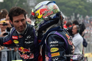 Race winner Sebastian Vettel, Red Bull Racing celebrates with team mate Mark Webber, Red Bull Racing in parc ferme