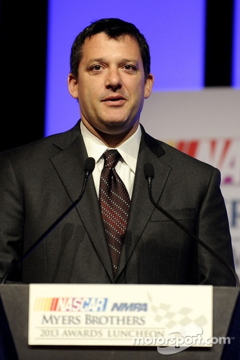 Tony Stewart speaks onstage after winning the Myers Brothers Award at the NMPA Myers Brothers Awards Luncheon