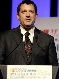 NASCAR-CUP: Tony Stewart speaks onstage after winning the Myers Brothers Award at the NMPA Myers Brothers Awards Luncheon
