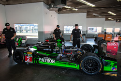 #2 Extreme Speed Motorsports HPD ARX-03b Honda in the garage after a crash