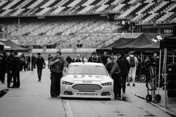 Car of Brad Keselowski, Team Penske Ford rolled to tech inspection