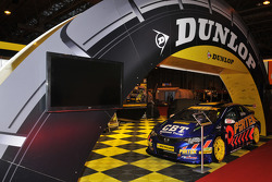 Andrew Jordans winning BTCC Honda Civic on the Dunlop stand