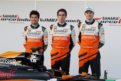 (L to R): Sergio Perez, Sahara Force India F1, Daniel Juncadella, Sahara Force India F1 Team Test and Reserve Driver, and Nico Hulkenberg, Sahara Force India F1 at the launch of the new Sahara Force India F1 VJM07