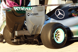 Mercedes AMG F1 W05 rear wing and rear diffuser detail