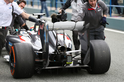 Esteban Gutierrez, Sauber C33 rear wing and rear diffuser detail