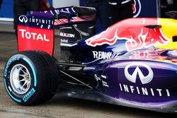 Sebastian Vettel, Red Bull Racing RB10 rear suspension and rear wing detail