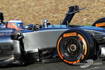 Jenson Button, McLaren MP4-29 running sensor equipment