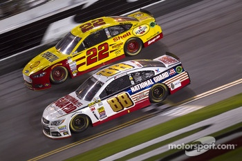 Dale Earnhardt Jr., Hendrick Motorsports Chevrolet and Joey Logano, Team Penske Ford