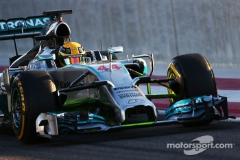 Lewis Hamilton, Mercedes AMG F1 W05 running flow-vis paint on the front wing