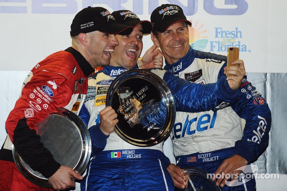 Overall podium: winners Marino Franchitti, Memo Rojas, Scott Pruett