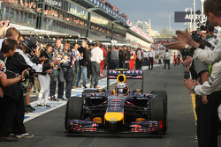 Second placed Daniel Ricciardo, Red Bull Racing RB10 enters parc ferme
