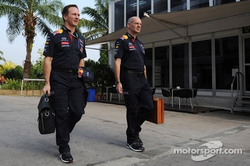 (L to R): Christian Horner, Red Bull Racing Team Principal with Adrian Newey, Red Bull Racing Chief Technical Officer
