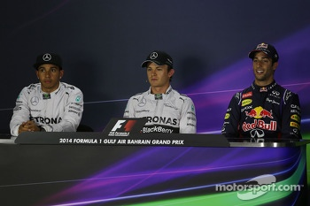 The post qualifying FIA Press Conference: Lewis Hamilton, Mercedes AMG F1, second; Nico Rosberg, Mercedes AMG F1, pole position; Daniel Ricciardo, Red Bull Racing, third