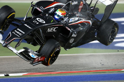 Esteban Gutierrez flips after contact with Pastor Maldonado