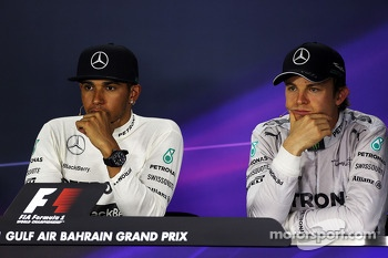 Lewis Hamilton, Mercedes AMG F1 with Nico Rosberg, Mercedes AMG F1 in the FIA Press Conference