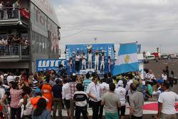 1st position Jose Maria Lopez, Citroën C-Elysee WTCC, Citroën Total WTCC , 2nd position Sébastien Loeb, Citroën C-Elysee WTCC, Citroën Total WTCC and 3rd position Yvan Muller, Citroën C-Elysee WTCC, Citroën Total WTCC with Franz Engstler, 320 TC, Liqui Mo