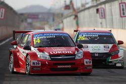 Mikhail Kozlovskiy, LADA Granta 1.6T, LADA Sport Lukoil and Mehdi Bennani, Honda Civic WTCC, Proteam Racing