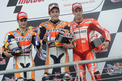 Race winner Marc Marquez, second place Dani Pedrosa, third palce Andrea Dovizioso