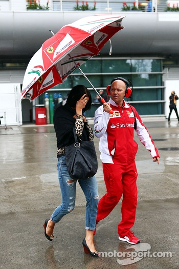 Minttu Virtanen, girlfriend of Kimi Raikkonen, Ferrari, with Mark Arnall, Personal Trainer