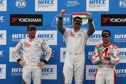 1st position Yvan Muller, Citroen C-Elysee WTCC, Citroen Total WTCC, 2nd position Jose Maria Lopez, Citroen C-Elysee WTCC, Citroen Total WTCC and 3rd position Tiago Monteiro, Honda Civic WTCC, Castrol Honda WTCC Team