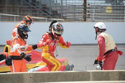 Sebastian Saavedra, KV Racing Technology Chevrolet after stalling on the grid