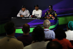 Post-race FIA Press Conference: Nico Rosberg, Mercedes AMG F1, second; Lewis Hamilton, Mercedes AMG F1, race winner; Daniel Ricciardo, Red Bull Racing, third