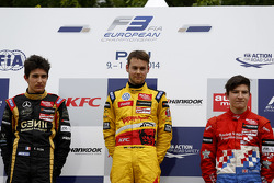 Podium: race winner Tom Blomqvist, second place Esteban Ocon, third place Jake Dennis