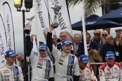 Podium: winners Jari-Matti Latvala and Miikka Anttila, Volkswagen Polo WRC, Volkswagen Motorsport