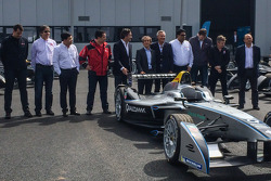 The first 10 Formula E cars are delivered and presented: Formula E CEO Alejandro Agag with Alain Prost and other team owners