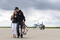 Kurt Busch travels with girlfriend Patricia Driscoll back to Charlotte Motor Speedway from Indianapolis