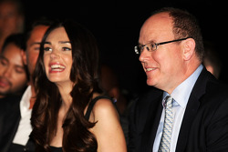 HSH Prince Albert of Monaco, with Tamara Ecclestone, at the Amber Lounge Fashion Show