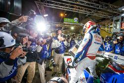 Pole winners Kazuki Nakajima celebrates