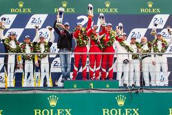 LMGTE Pro podium: class winners Gianmaria Bruni, Toni Vilander, Giancarlo Fisichella, second place Jan Magnussen, Antonio Garcia, Jordan Taylor, third place Marco Holzer, Frédéric Makowiecki, Richard Lietz