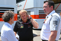 (L to R): Alain Prost, with Robert Fernley, Sahara Force India F1 Team Deputy Team Principal and Eric Boullier, McLaren Racing Director