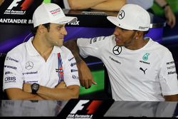 Felipe Massa, Williams F1 Team and Lewis Hamilton, Mercedes AMG F1 Team during the press conference
