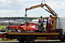The crashed car of Kimi Raikkonen, Scuderia Ferrari